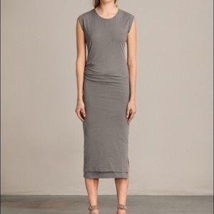 All saints grey casual chic midi dress